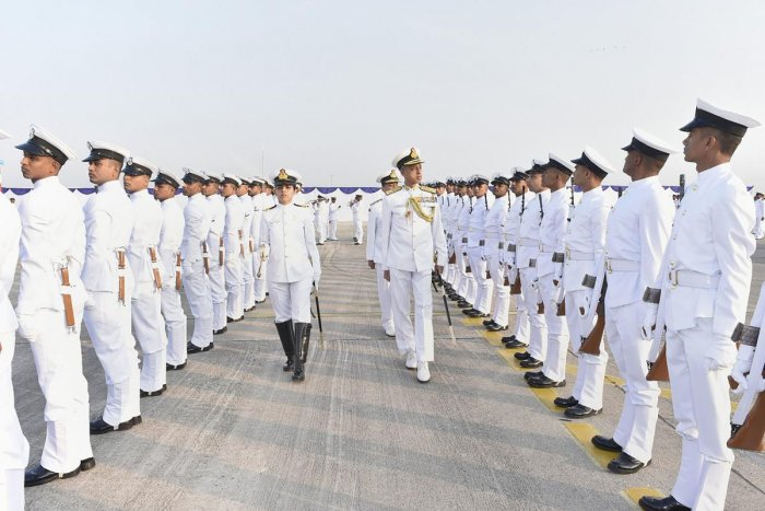 Deputy Chief of Naval Staff Vice-Admiral M S Pawar inspects the guard of honour during the commissioning of sixth Dornier squadron of the Indian Navy- Indian Naval Air Squadron (INAS) 314 at the Naval Air Enclave, in Porbandar. PTI photo