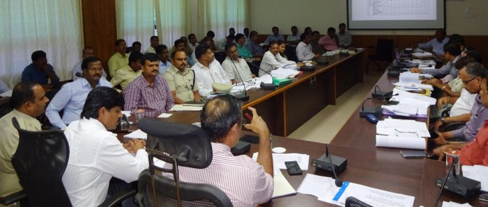 District In-charge Secretary Maheshwar Rao chairs a meeting in DC's office, Manipal.