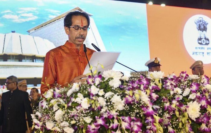 Thackeray, 59, became the third Sena leader - after Manohar Joshi and Narayan Rane - and the first Thackeray to occupy the top post. Photo/PTI