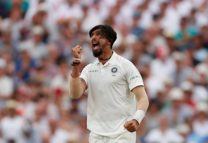 Ishant Sharma celebrates after taking the wicket of England's Stuart Broad. (Reuters Photo)