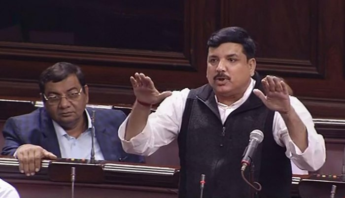 AAP MP Sanjay Singh speaks in the Rajya Sabha during the ongoing Winter Session of Parliament.