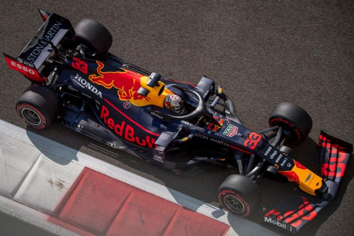 Red Bull's Dutch driver Max Verstappen drives his car during the first practice session. AFP photo