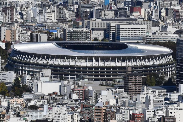 The new 1.4 billion USD main venue for the 2020 Tokyo Olympic Games is pictured after being officially completed in Tokyo. The five-story stadium, designed by renowned Japanese architect Kengo Kuma, will seat 60,000 fans and nods to traditional techniques