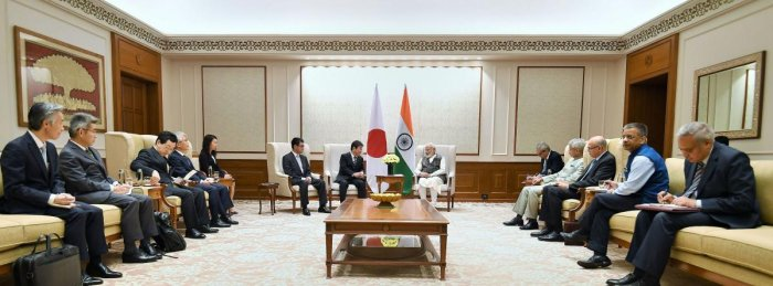Prime Minister Narendra Modi in a meeting with a Japanese delegation led by the Foreign Affairs Minister of Japan Toshimitsu Motegi and the Minister of Defence of Japan Taro Kono in New Delhi. PIB/PTI