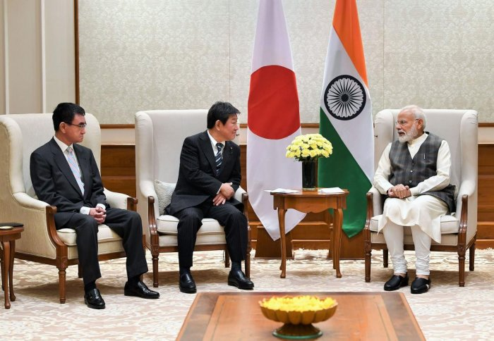Prime Minister Narendra Modi in a meeting with Foreign Affairs Minister of Japan Toshimitsu Motegi and the Minister of Defence of Japan Taro Kono. Photo by PTI