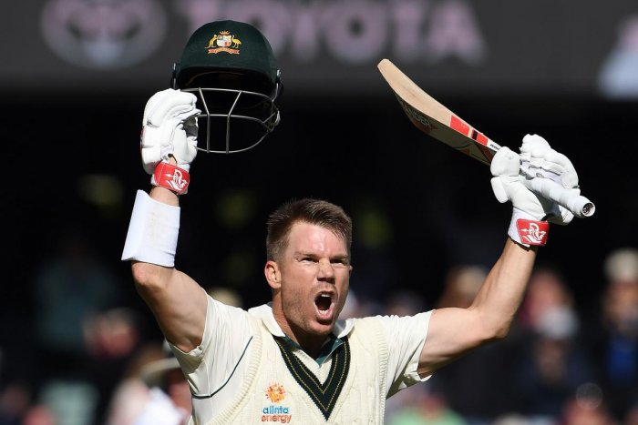 Australia's batsman David Warner celebrates reaching his triple century (300 runs) during day two of the second cricket Test match between Australia and Pakistan in Adelaide on November 30, 2019.AFP