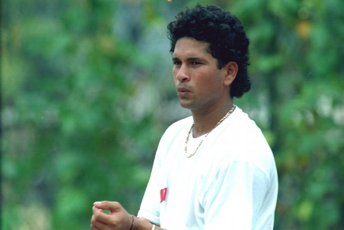 Cricketer Sachin Tendulkar in younger days. Credit: DH Archives