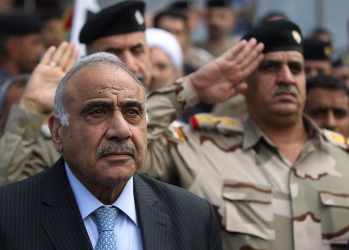In this file photo taken on October 23, 2019 Iraq's Prime Minister Adel Abdel Mahdi speaks during a funeral ceremony in Baghdad. (AFP Photo)