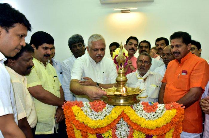 BJP National General Secretary (Org) B L Sathosh inaugurated the renovated office of Dakshina Kannada MP Nalin Kumar Kateel on second floor of DC's office in Mangaluru on Saturday. DH Photo
