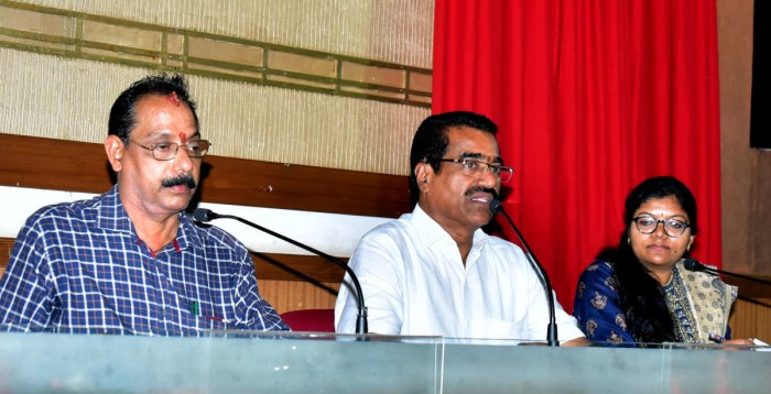 MLA Umanath Kotian speaks at the quarterly KDP meeting of Mangaluru Taluk Panchayat at Nethravathi Hall of Zilla Panchayat in Mangaluru.