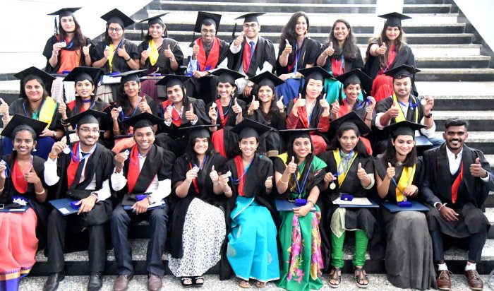 Toppers and gold medallists at the third convocation of the Dayananda Sagar University on Saturday. DH PHOTO/SRIKANTA SHARMA R