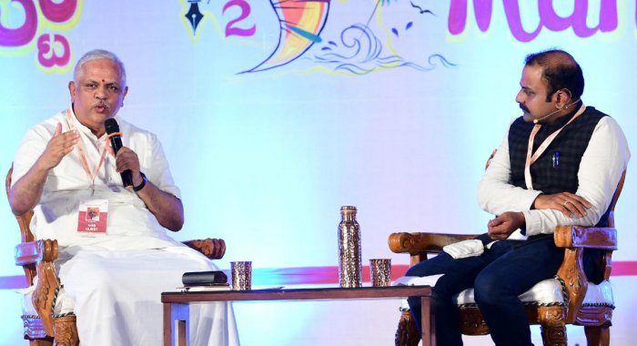 Bharatiya Janata Party National General Secretary B L Santosh interacts with the audience on the second day of Mangaluru Lit Fest organised at Dr T M A Pai International Convention Centre in Mangaluru on Saturday.