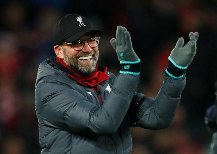 Liverpool manager Juergen Klopp celebrates after the match. (Reuters Photo)