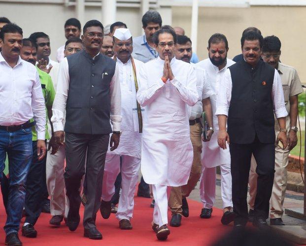 Maharashtra Chief Minister Uddhav Thackeray arrives at Vidhan Bhavan for the Assembly session in Mumbai. PTI