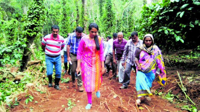 Deputy Commissioner Annies Kanmani Joy visits the encroachment clearing site at Abhyath Mangala on Sunday.
