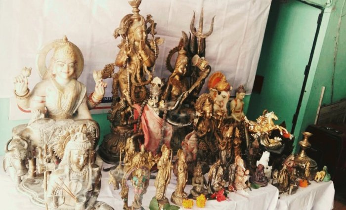 Photo of the recovered idols. Twitter/Assam Police