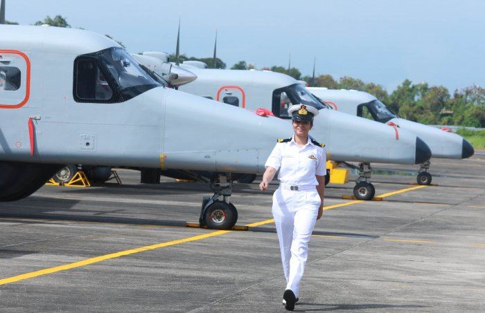 Shivangi, first woman pilot, at Southern Naval Command in Kochi after receiving the wings.