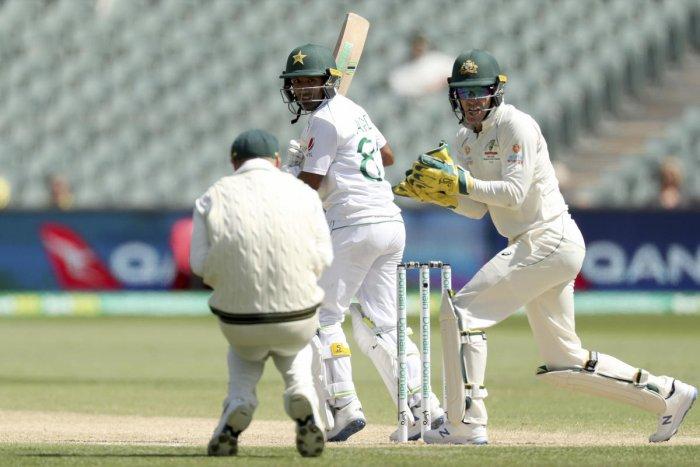 Australia's David Warner, left, catches Pakistan's Asad Shafiq (AP Photo)