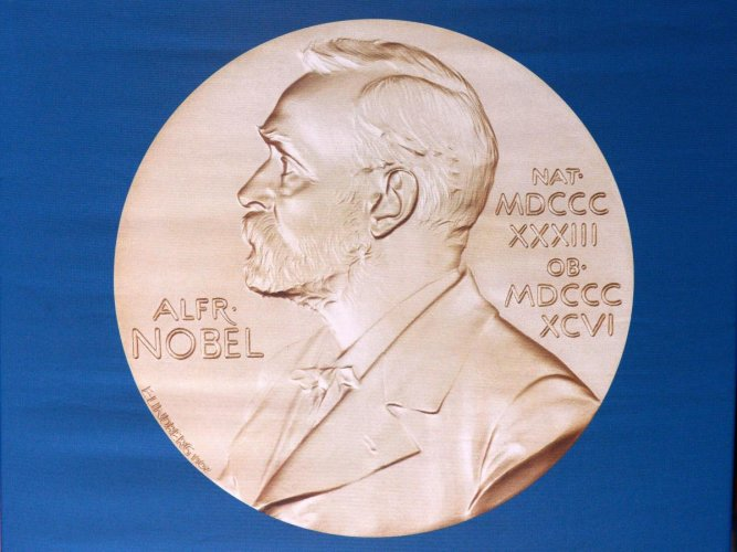 The laureate medal featuring the portrait of Alfred Nobel. AFP photo