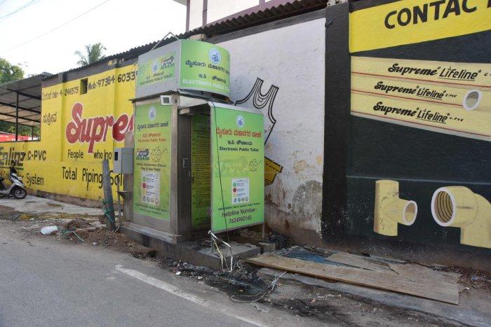 The condition of e-toilet near Sangam Theatre in Mysuru. dh photo
