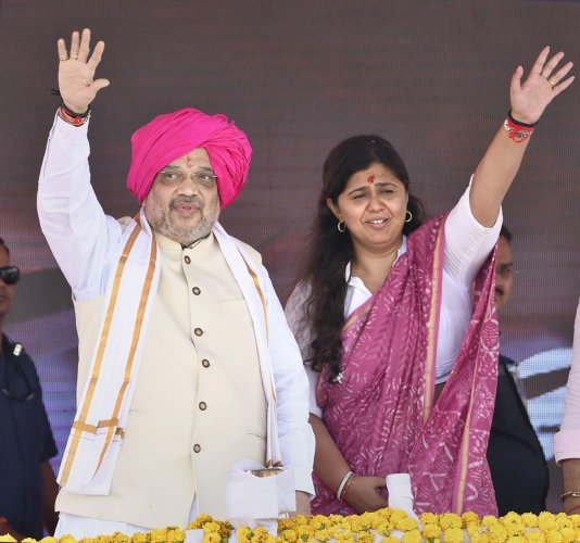 """BJP leader Pankaja Munde, who created a flutter with her social media post on her """"future journey"""" in view of the changed political scenario in Maharashtra, has now removed her party's name from her Twitter bio. Photo/PTI"""