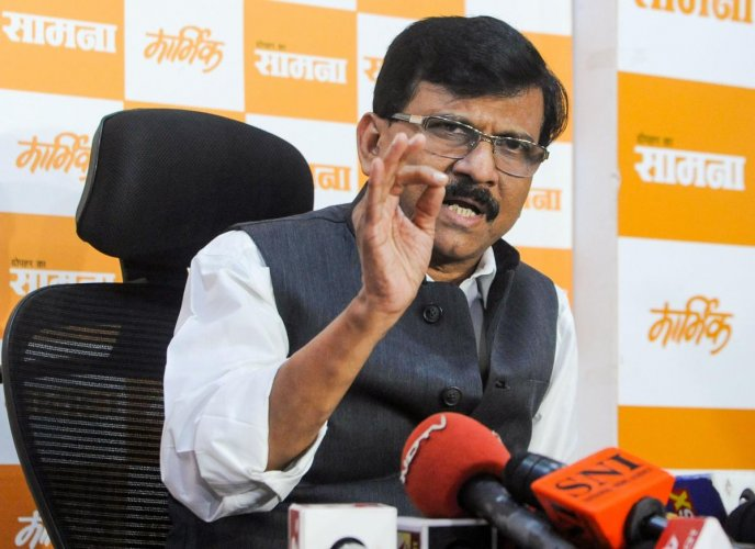 Shiv Sena leader Sanjay Raut addresses a press conference after the party's meeting, in Mumbai, Thursday, Nov. 7, 2019. (PTI Photo)