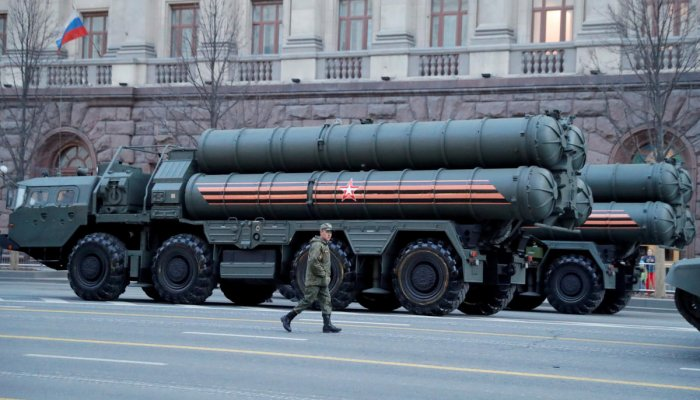 A Russian serviceman walks past S-400 missile air defence systems in Tverskaya Street before a rehearsal for the Victory Day parade in Moscow. (Reuters Photo)