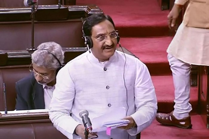 Union HRD Minister Ramesh Pokhriyal speaks in the Rajya Sabha during the ongoing Winter Session of Parliament, in New Delhi, Thursday, Nov. 21, 2019. (PTI Photo)