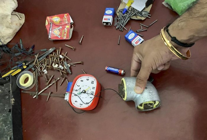 Police display IED device recovered. PTI photo