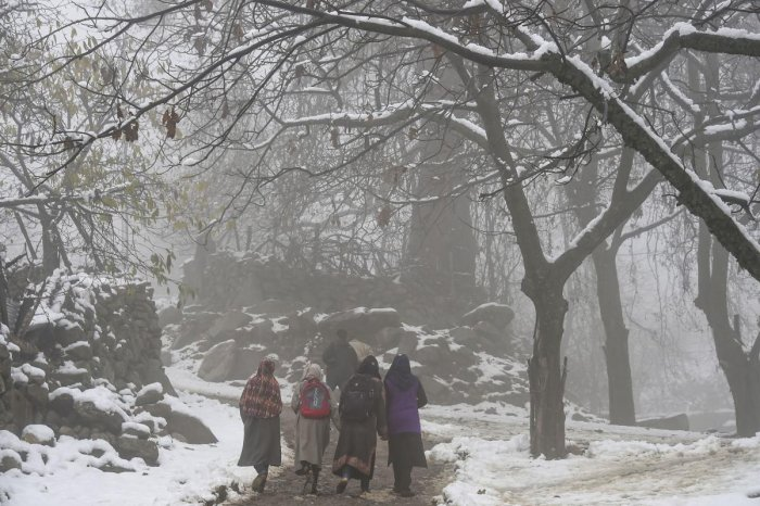 Leh continued to remain the coldest place in Jammu and Kashmir, and Ladakh at minus 14.4 degrees Celsius on Monday as cold further tightened its grip in the two union territories. Photo/PTI