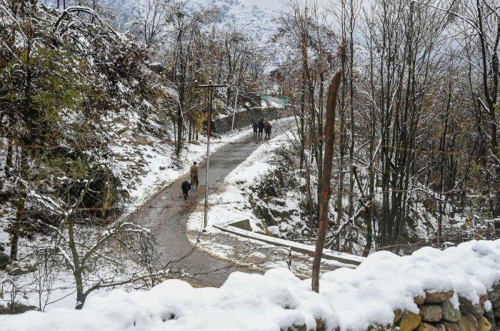 Pedestrians walk along a snow-laden hillside following light snowfall, on the outskirts of Srinagar, Thursday, Nov. 28, 2019. (PTI Photo)