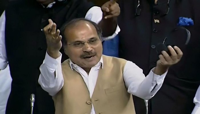 """BJP members in Lok Sabha on Monday protested against Congress leader Adhir Ranjan Chowdhury calling Prime Minister Narendra Modi and Home Minister Amit Shah as """"infiltrators"""" and sought his apology for the """"insult"""". Photo/PTI"""