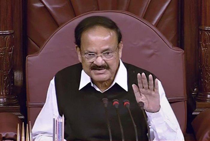 Rajya Sabha Chairman M Venkaiah Naidu conducts proceedings of the House during the Winter Session of Parliament in New Delhi, Friday, Nov. 29, 2019. (PTI Photo)