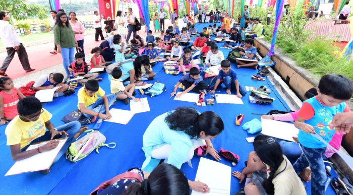 Children participated in a drawing competition organised as part of the Mangaluru Lit Fest at Dr TMA Pai International Convention Centre on Saturday.