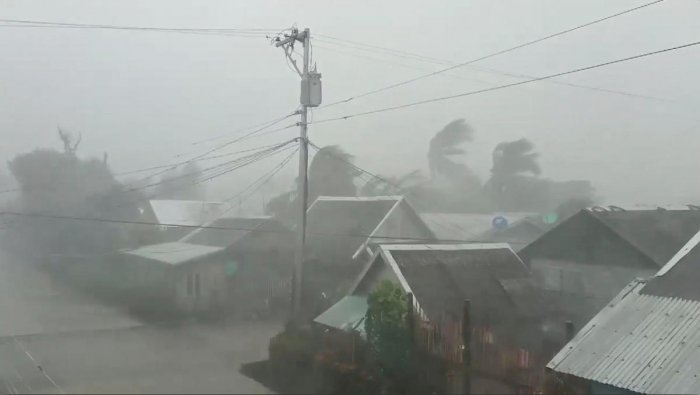 Typhoon Kammuri, known locally as Typhoon Tisoy, makes landfall in Gamay, Northern Samar, Philippines, December 2, 2019, in this still image from video obtained via social media. Gladys Castillo Vidal via REUTERS