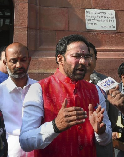 Minister of State for Home Affairs G Kishan Reddy talks to the media at Parliament House during the ongoing Winter Session, in New Delhi, Monday, Dec. 2, 2019. (PTI Photo)