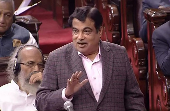 Union Minister Nitin Gadkari speaks in the Rajya Sabha during the ongoing Winter Session of Parliament, in New Delhi. RSTV/PTI