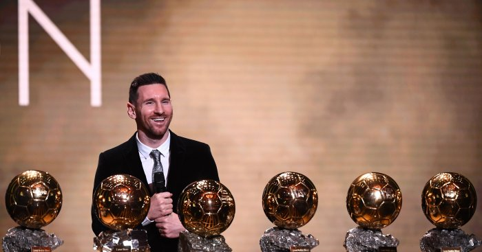 Barcelona's Argentinian forward Lionel Messi reacts after winning the Ballon d'Or France Football 2019 trophy at the Chatelet Theatre in Paris. (AFP Photo)