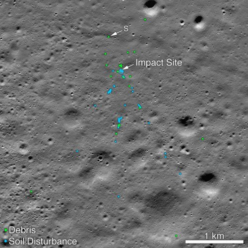 "Vikram Lander impact point and associated debris field. Green dots indicate spacecraft debris. Blue dots locate disturbed soil, likely where small bits of the spacecraft churned up the regolith. ""S"" indicates debris identified by Shanmuga Subramanian. (Photo: NASA/Goddard/Arizona State University)"
