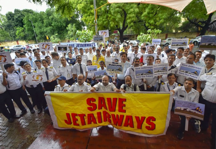 Jet Airways employees stage a protest at Jantar Mantar, in New Delhi. (PTI Photo)