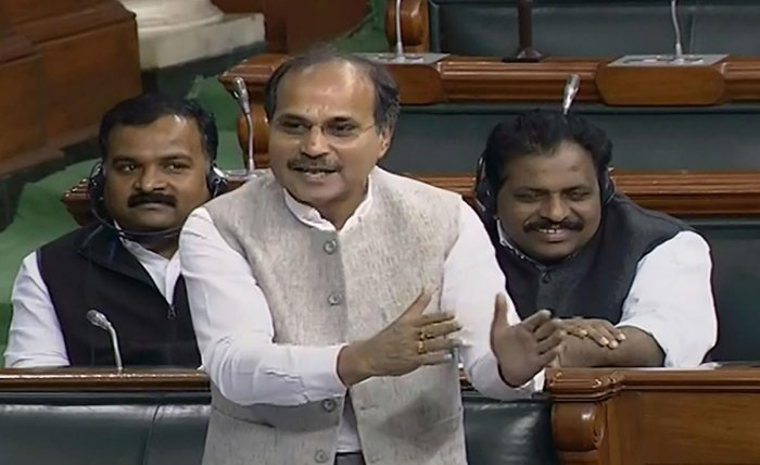 Congress leader Adhir Ranjan Chowdhury speaks in the Lok Sabha during the Winter Session of Parliament. Photo by PTI.