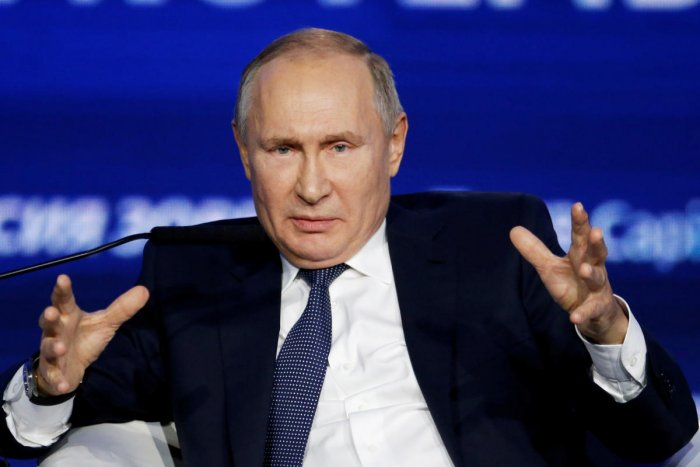 """Russian President Vladimir Putin speaks during an annual VTB Capital """"Russia Calling"""" Investment Forum in Moscow, Russia, November 20, 2019. (Reuters Photo)"""