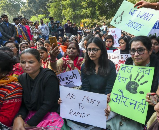 Delhi Commission for Women (DCW) chairperson Swati Maliwal sits on indefinite hunger strike against the Hyderabad rape-murder case. PTI photo