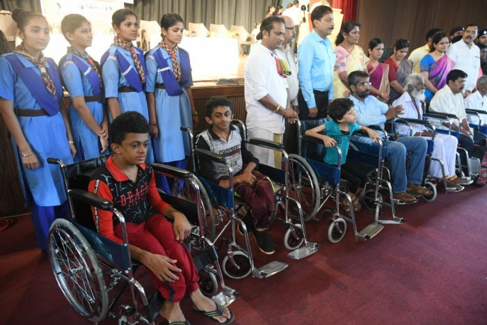 Wheelchairs were distributed to the differently abled at the International Day of Disabled Persons programme at Town Hall in Mangaluru on Tuesday.