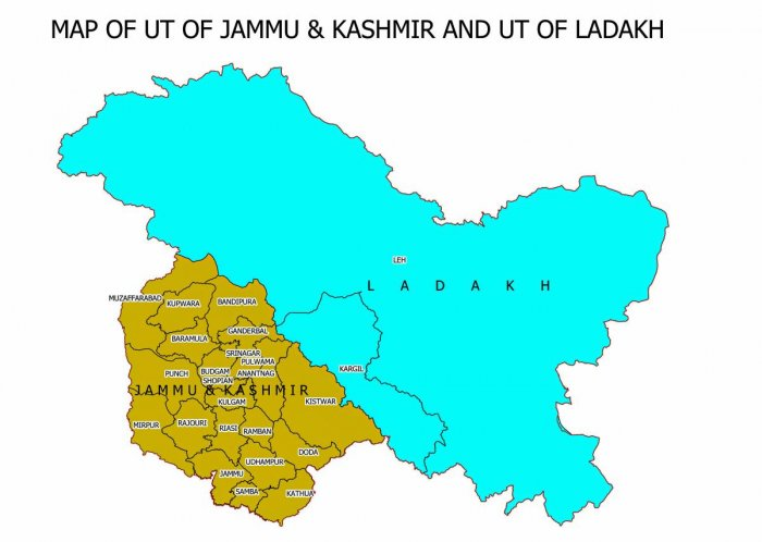 PTI file photo of the new map of Jammu and Kashmir