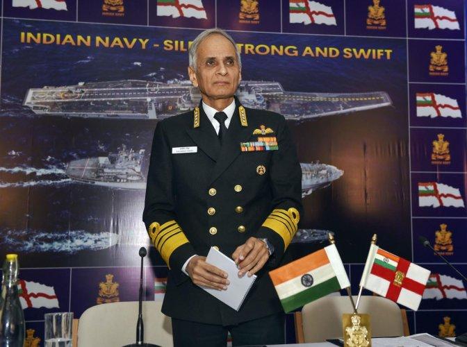 Chief of Naval Staff, Admiral Karambir Singh, at a press conference in New Delhi. PTI photo