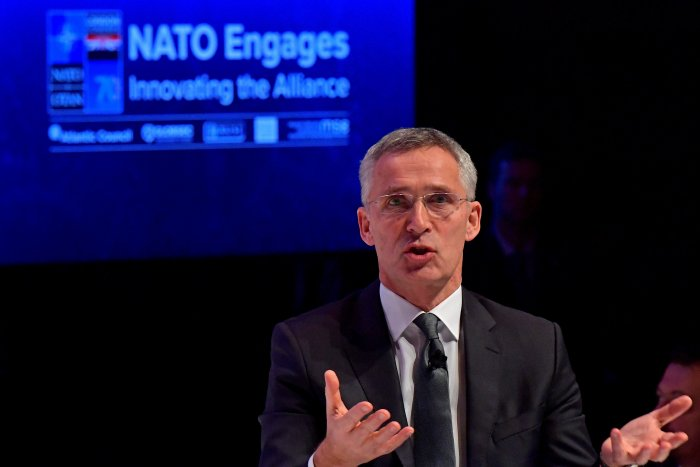 Nato Secretary General Jens Stoltenberg speaks at the official NATO outreach event. (AFP Photo)