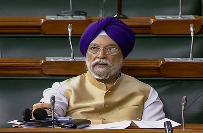 Union Minister Hardeep Singh Puri in the Lok Sabha. (PTI Photo)