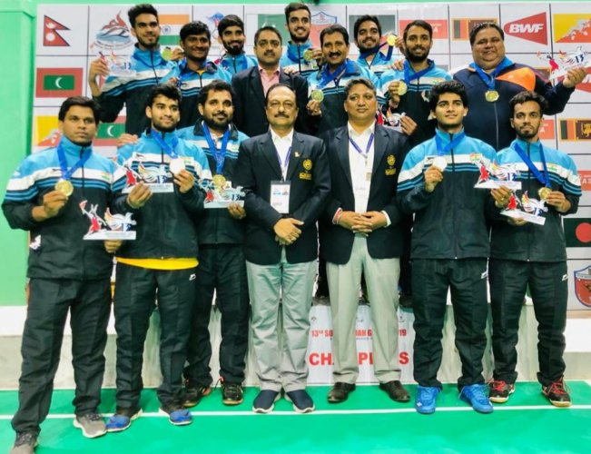 Indian Men's badminton Team won Gold medal defeating Sri Lanka in the Team finals 3-1 at the 13th South Asian Games (DH Photo)