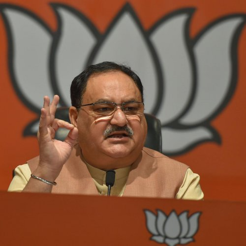 """Now the two parties have joined hands as they want the kursi' (cm chair). They can't remain without power, and you should keep them out of power for the development of Jharkhand,"" Nadda exhorted the voters. (PTI Photo)"